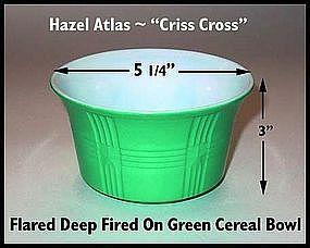 Hazel Atlas~Criss Cross~Fired On Green Deep Cereal Bowl
