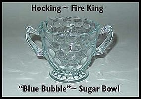 Fire King Hocking Blue Bubble Sugar Bowl