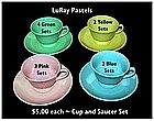 LuRay Pastels ~ 1940's ~ Cups and Saucers