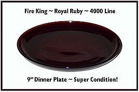 "Fire King~Royal Ruby~4000 Line 9"" Dinner Plate"