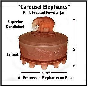 1930's~Carousel Elephants~Pink Satin Glass Powder Jar