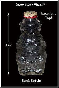 Snow Crest ~ Bear ~ Glass Figural Bottle Bank