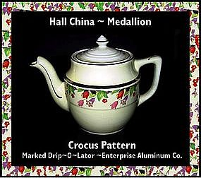 Hall China ~ Medallion ~ Crocus ~ Enterprise Coffee Pot
