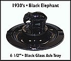 1930's ~ Black Glass ~ Elephant ~ Ash Tray