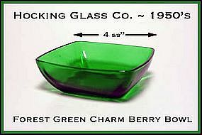 Hocking Fire King Forest Green Charm Small Berry Bowl