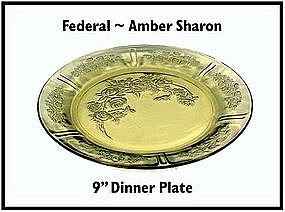 Federal ~ Amber Sharon ~ Cabbage Rose ~ Dinner Plate
