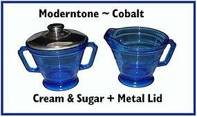Hazel Atlas Moderntone Cobalt Creamer Sugar & Lid