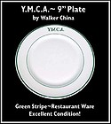 "Walker China Restaurant Ware YMCA 9"" Plate"