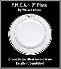"Walker China Restaurant Ware YMCA 9"" Plate"