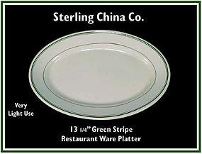 """Restaurant Ware 13"""" Green Stripe Oval Platter"""