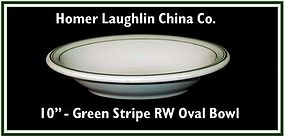 "Restaunt Ware 10"" Homer Laughlin Green Stripe Oval Bowl"