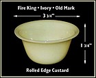 Fire King Early Ivory Rolled Edge Custard Dish