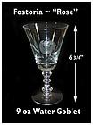"Fostoria ""Rose"" Cutting No 827-6 3/4""~9 oz Water Goblet"