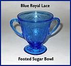 Hazel Atlas Royal Lace Blue Open Sugar Bowl