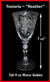 Fostoria Heather Tall 9 oz Water Goblet