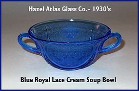 Royal Lace Blue 2 Handled Cream Soup Bowl