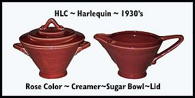 HLC Harlequin Original Rose Color Creamer�Sugar�Lid�