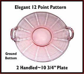 """Fostoria Fairfax? 10 3/4"""" ~ 2 Handled Pink Round Plate"""