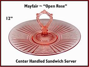 "Mayfair ""Open Rose"" 12"" Center Handled Sandwich Server"