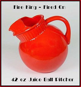 Fire King Rainbow Fired On Red Juice Pitcher 1940