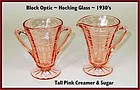 Block Optic Pink Tall Footed Cream & Sugar