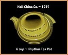Hall China Gold Decorated 6 Cup Rhythm Tea Pot