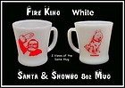 1950s Fire King SANTA CLAUS White RW 8oz Coffee Mug
