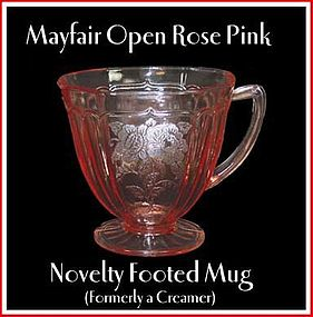 Mayfair Open Rose Pink Footed Mug/Creamer