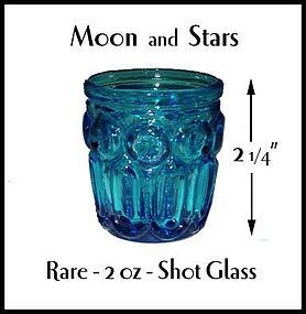 Moon and Stars Rare 2 Ounce Bright Blue Shot Glass