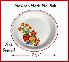"Mexican Motif 9 1/2"" Pottery Pie Dish With Red Trim"