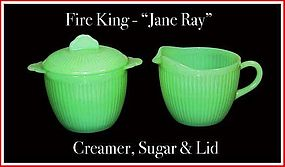 Fire King Jadeite Jane Ray ~ Creamer ~ Sugar & Lid