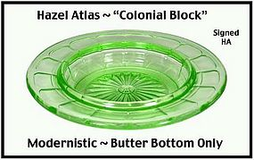 Hazel Atlas Green Colonial Block Butter Dish Base