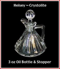 Heisey Crystolite 3 oz Oil Bottle & Stopper ~ Nice!
