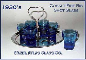 Hazel Atlas Deco Cobalt Fine Rib 6 Shot Glasses W/Tray