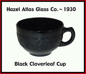 Hazel Atlas Black Cloverleaf Coffee Cup Only