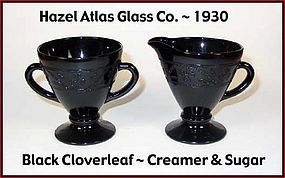 Hazel Atlas Black Cloverleaf Creamer and Sugar Set