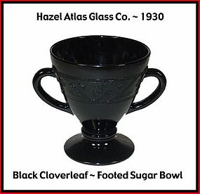 Hazel Atlas Black Cloverleaf Sugar Bowl Only
