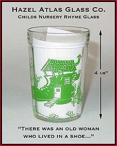 Hazel Atlas 1940's Childrens Dec Nursery Rhyme Glass