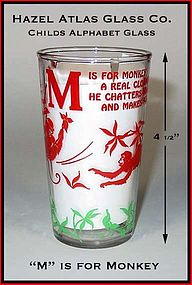Hazel Atlas 1940's Childrens Dec Alphabet Glass