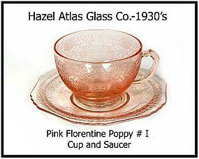 Hazel Atlas~Pink Florentine Poppy I ~ Cup & Saucer