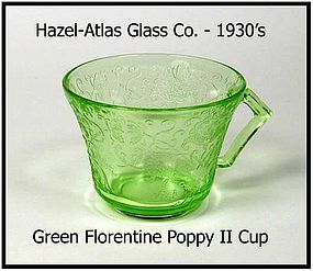 Hazel-Atlas Florentine #2 Green Cup Only