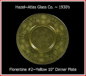 "Hazel Atlas  Yellow Florentine #2 Lg 10"" Dinner Plate"