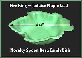 Fire King Jadeite Maple Leaf Relish/Spoon Rest