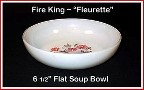 "Fire King Fleurette 6 1/2"" Flat Soup Bowl"