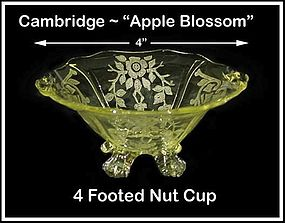 Cambridge ~ Apple Blossom Yellow 4 Footed Nut Cup