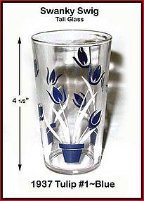 Kraft Swanky Swig Tall 1937 Blue Tulips #1 Rare Size