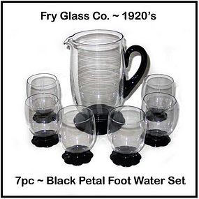 Fry Glass ~ Black Petal Foot 7pc Water Water Set