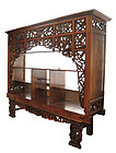 Large Antique Javanese Carved Teak Shelves