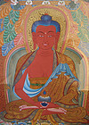 Tibetan Thangka Painting with Red Medicine Buddha