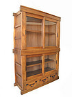 Japanese 2 section Glass Display Tansu